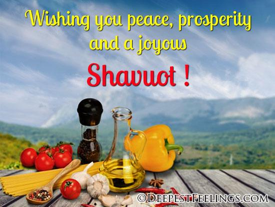 Wishing you peace, prosperity and a joyous Shavuot!